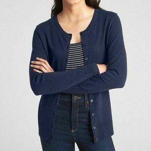 New Gap S Navy Blue Crew Neck Cardigan Sweater
